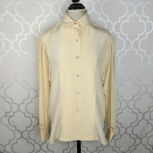 Vintage Paul Stanley Ivory Silk Button Blouse